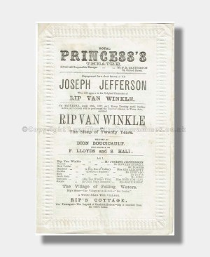 1877 RIP VAN WINKLE Royal Princess's THeatre