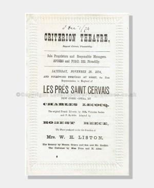1874 LES PRÉS SAINT GERVAIS Criterion Theatre