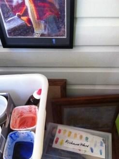 Art supplies gathered for teaching watercolour technique