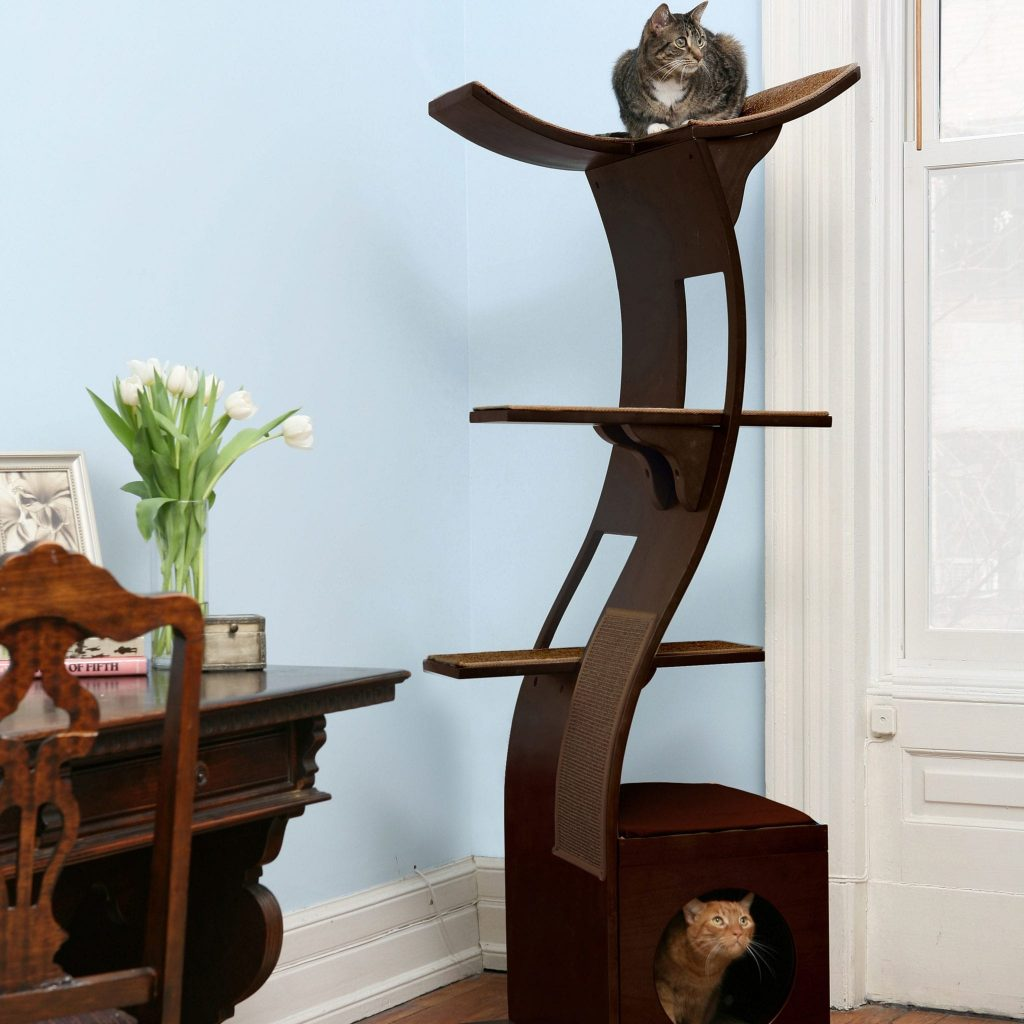 An attractive wooden cat tower