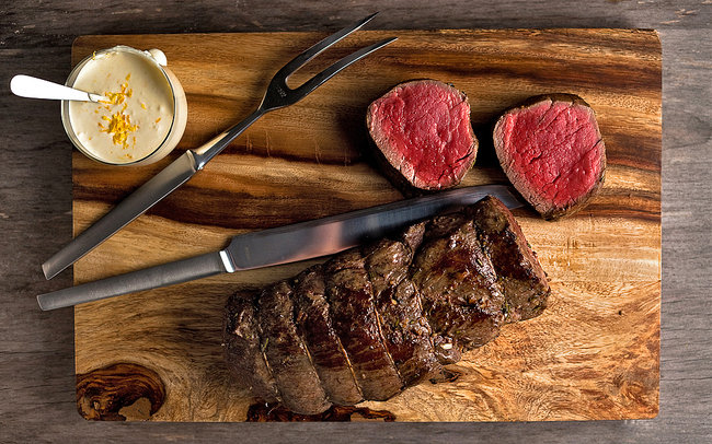 Garlicky Beef Tenderloin With Orange Horseradish Sauce.