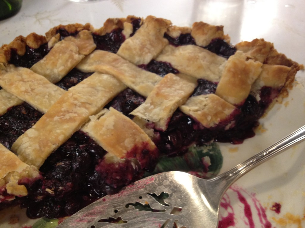 Blueberry pie with flakey crust.