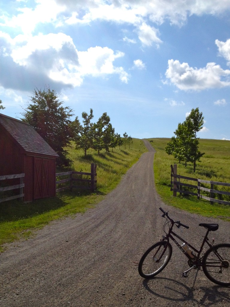 Driveway with bike in upstate New York. Road to heaven.