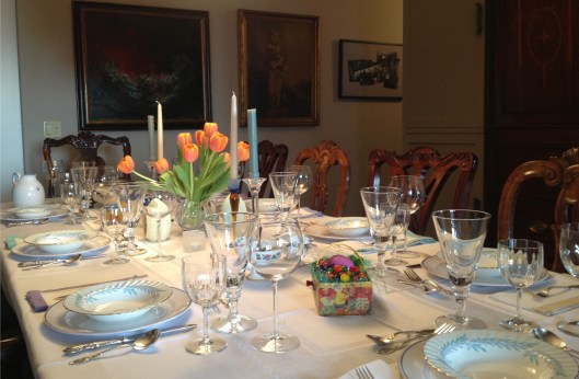 Easter table set with Pierre D