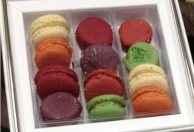 Richart macarons - new summer flavors both savory and sweet, in a white box.