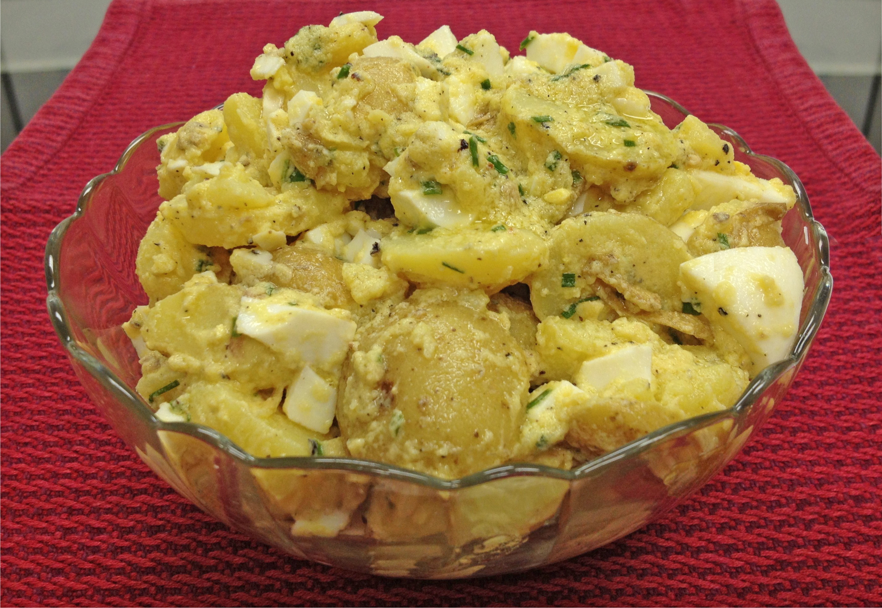 Potato salad with eggs and anchovies - perfect for a July 4th picnic.