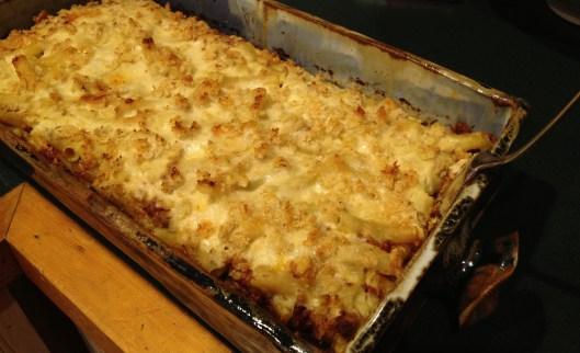 Greek casserole pastitsio combines béchamel, pasta, ground lamb, tomato sauce, cheese, cinnamon and nutmeg.