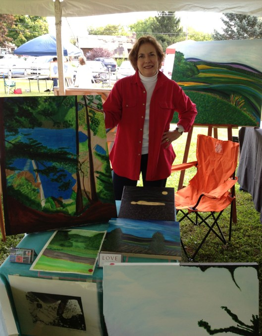 Hillsdale Art Fest - Mary Pisarkiewicz with her paintings.