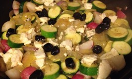 Sauteed Zucchini with Onions and Radishes, topped with Feta and Oil-cured Moroccan Olives