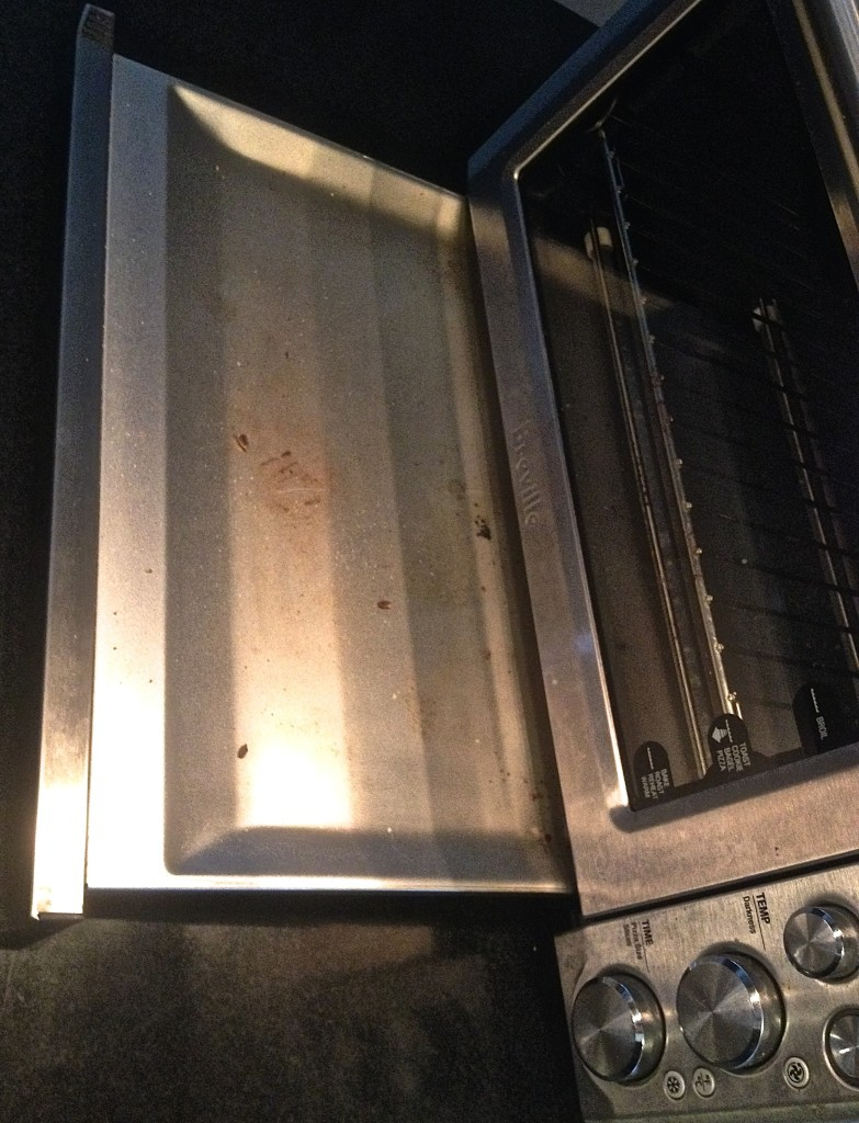 Toaster oven tray pulled out.