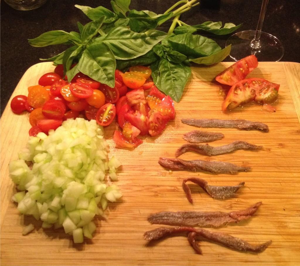Freekeh salad ingredients.