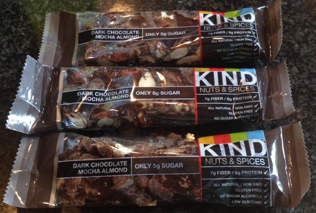 Three Dark Chocolate Mocha Almond Kind Bars.