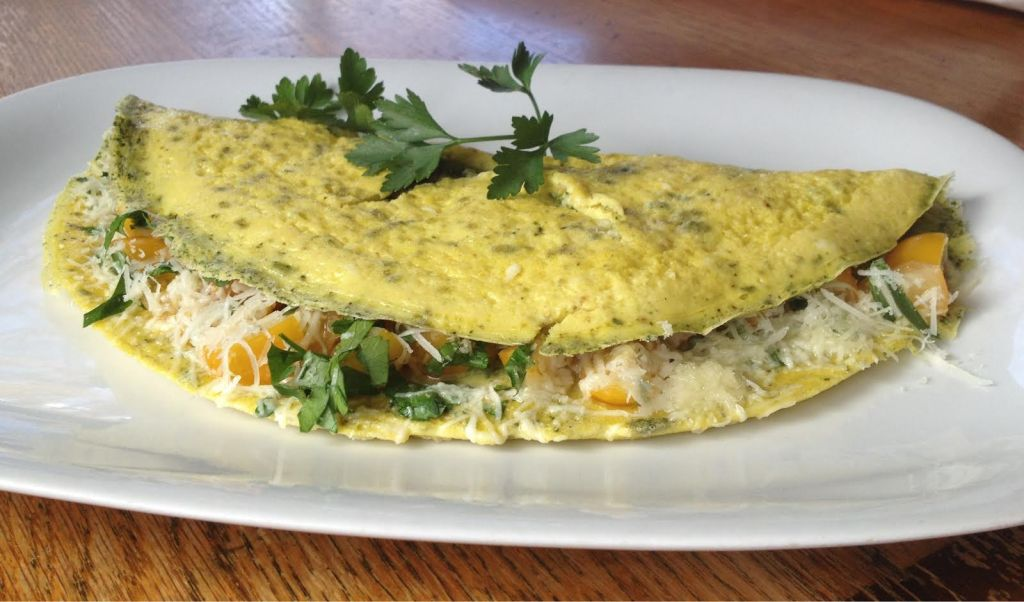 Spinach dip mix whole omelet.