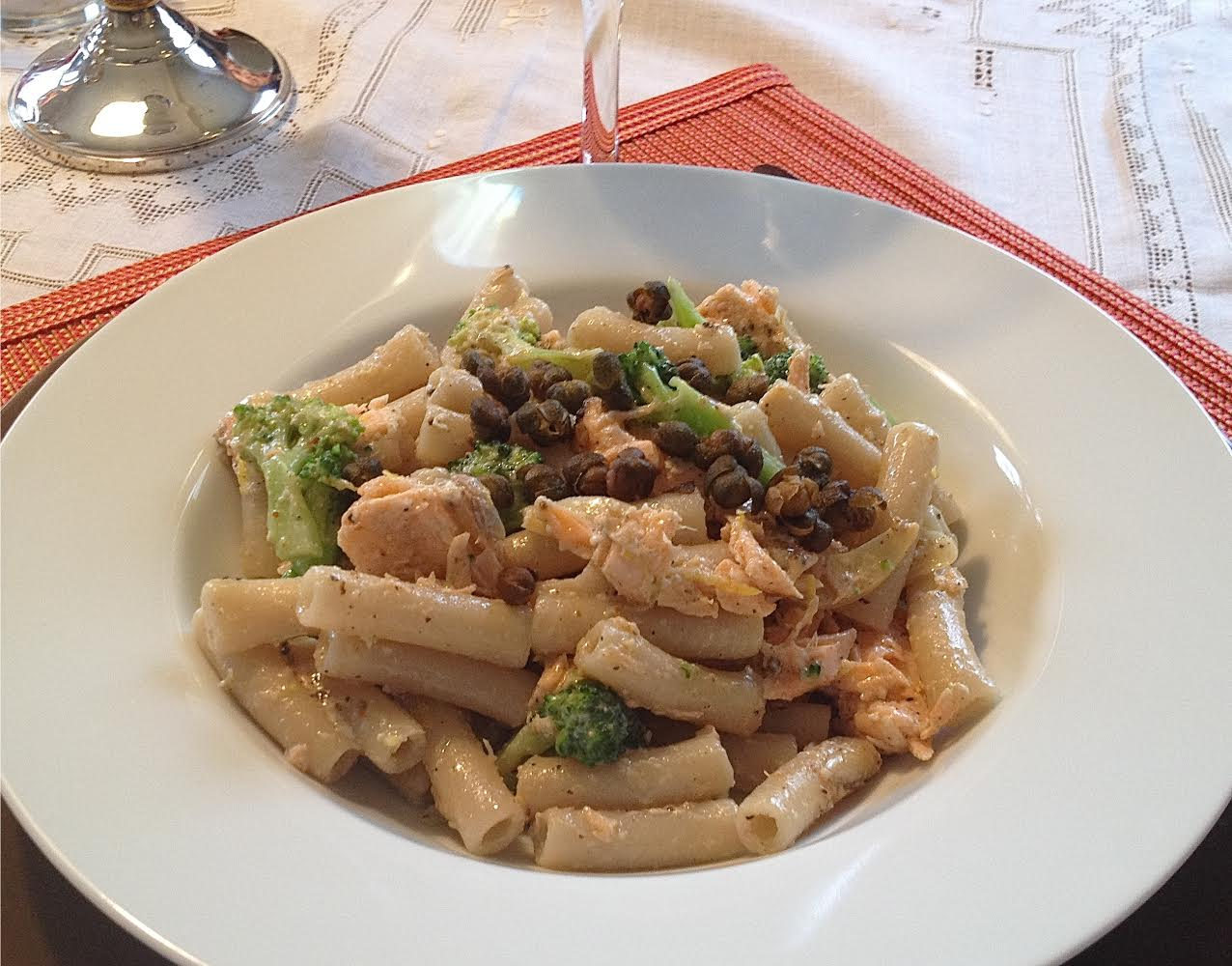 Pasta With Salmon And Broccoli Topped With Fried Capers Single Serving
