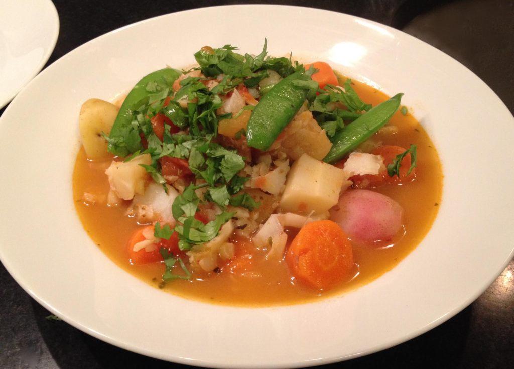 Dutch's spirits cod fish stew in a bowl.