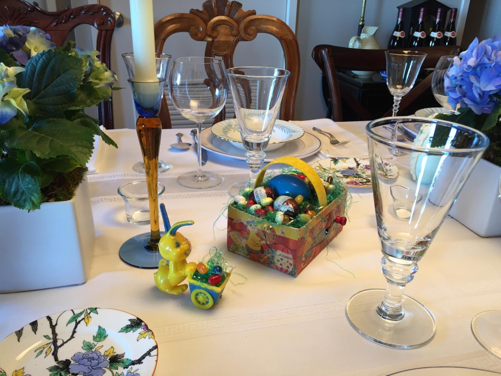 Easter Sunday with antique toys on the dining room table.