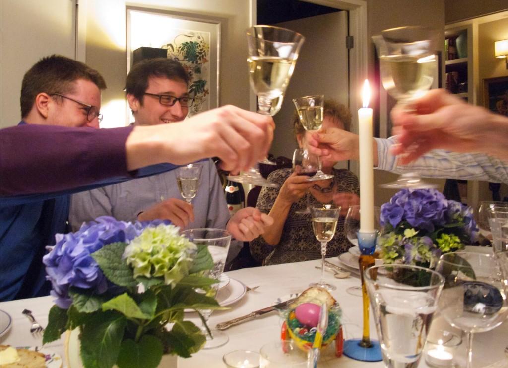 Toasting white wine at Easter dinner 2015.