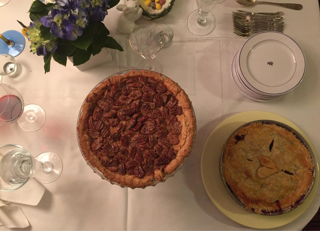Beautiful pecan and blueberry pies for Easter dessert.