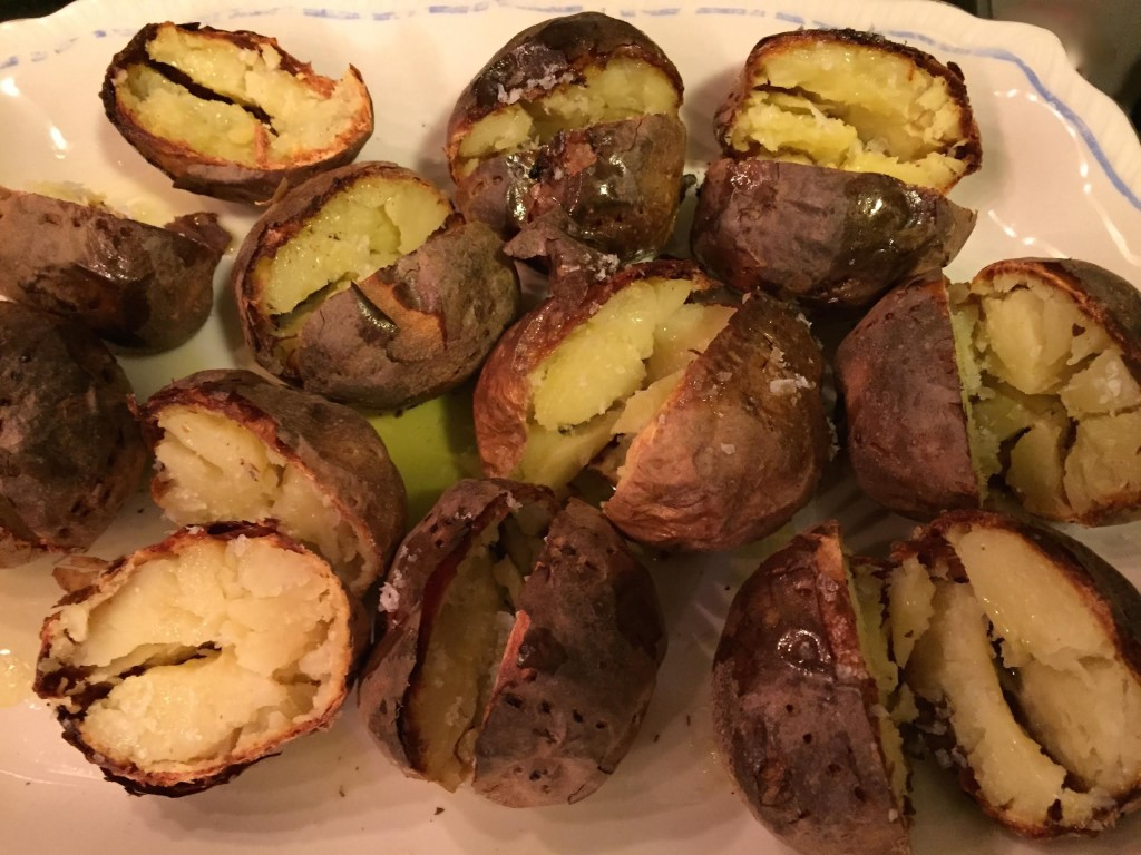 Crispy baked Yukon Gold potatoes on a platter.