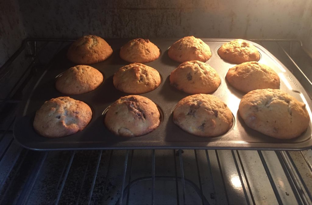 Loacker Banana Nut muffins in the oven.