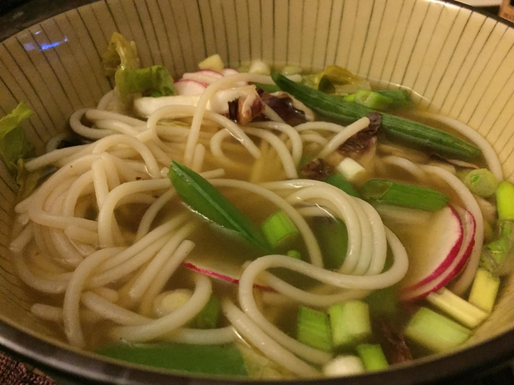 Savory Choice Vegetable Pho in a bowl with noodles.