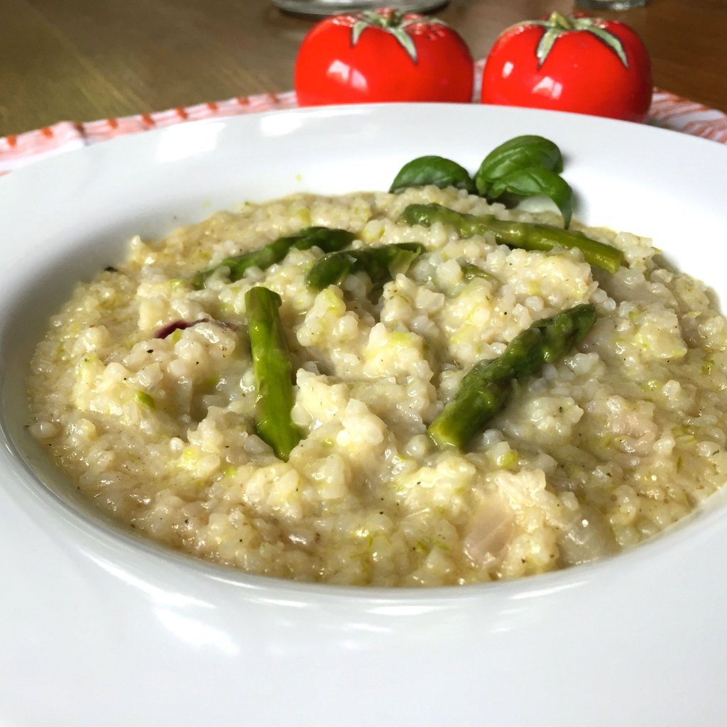 Quick & easy asparagus risotto.