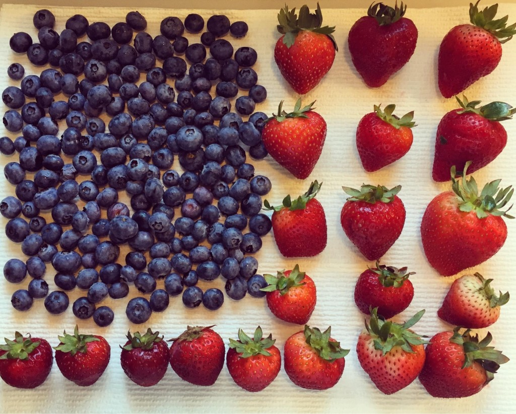 Blueberries and strawberries in  an American flag formation.