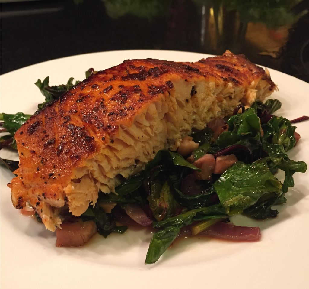 Maguey Sweet Sap with sauteed kale and beet greens as a bed to spice-rubbed roasted salmon.