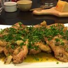 Garlicky Chicken with lemon anchovy sauce-side view.