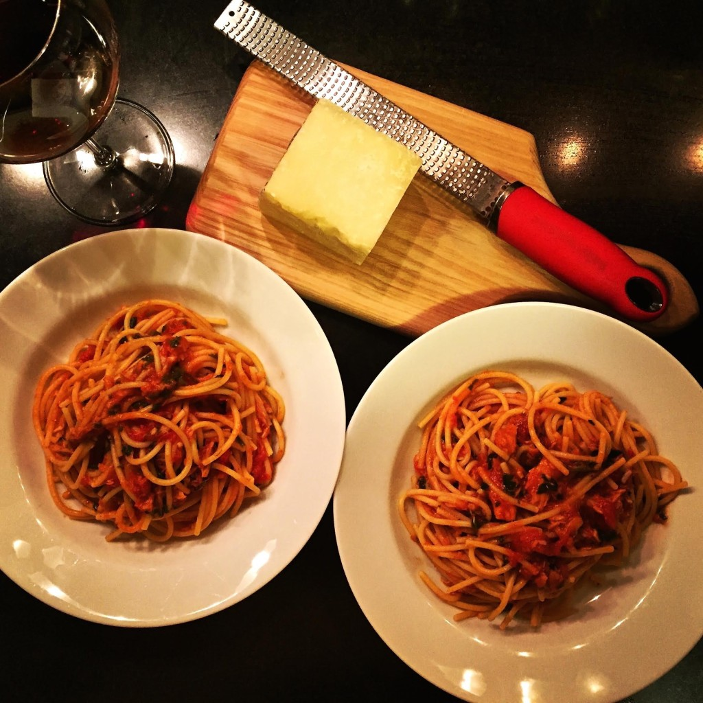 Quick Weeknight Pasta and Tuna Dinner - finished dishes.