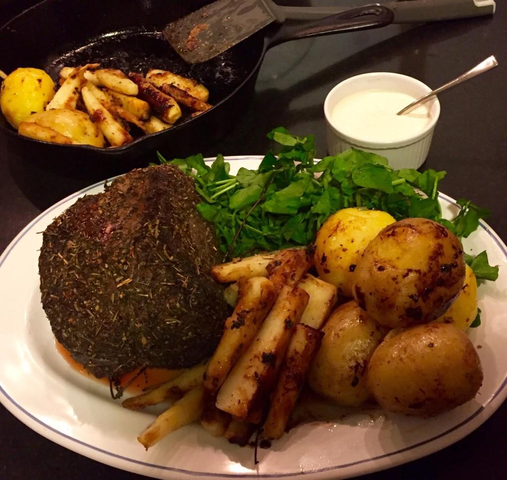 RawSpice Bar Winter Herb Mix on Beef Rump Roast on platter with veggies.