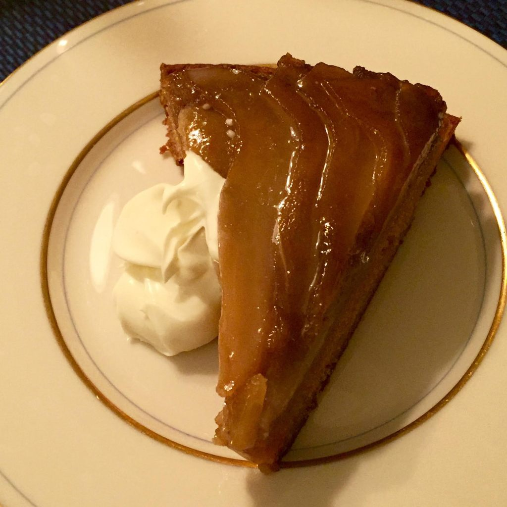 Pear & Brown Sugar Upside down cake - a slice with creme fraiche.