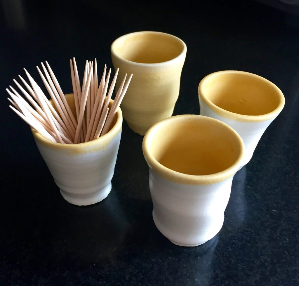 !00 cups a day with toothpicks.