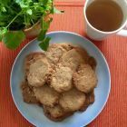 The Tea Spot Shortbread Cookies finished on a plate with a cup of tea.
