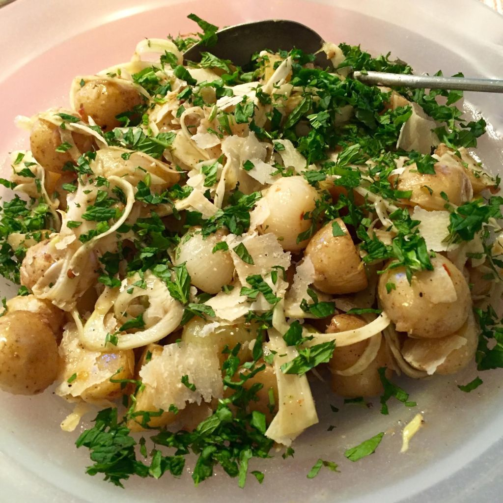 Best potato salad with fennel, Parmesan cheese, cipollini onions and picholine olives.