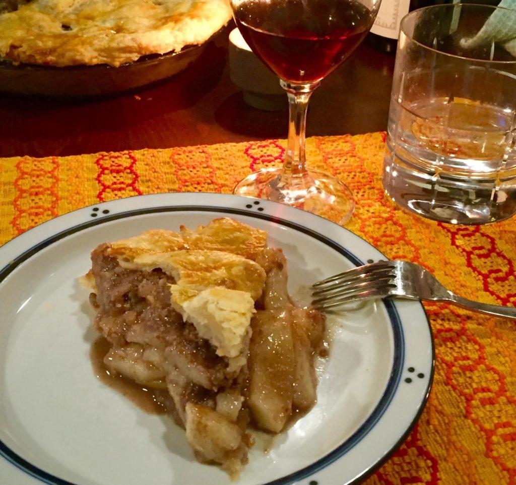 Piece of pear pie on a Dansk plate.