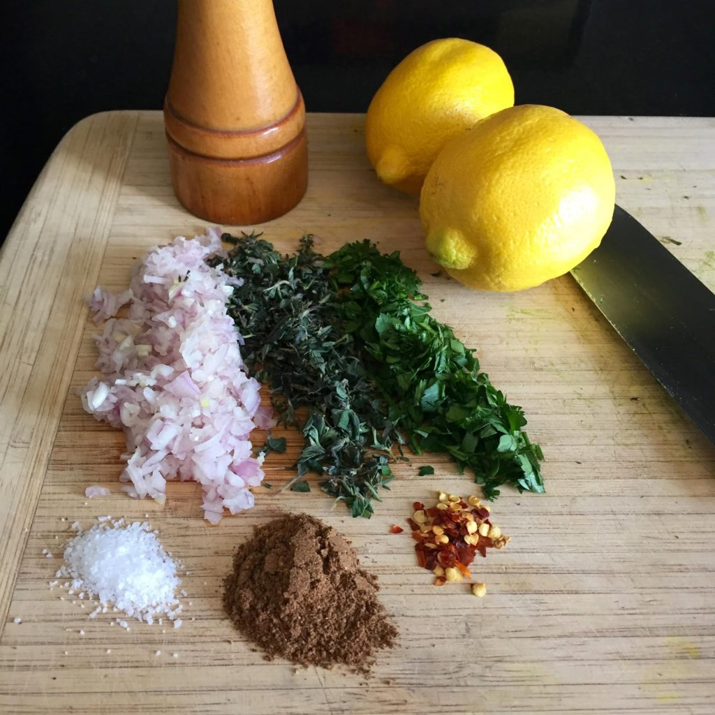 Ingredients for llemon scented pork sausage patties.