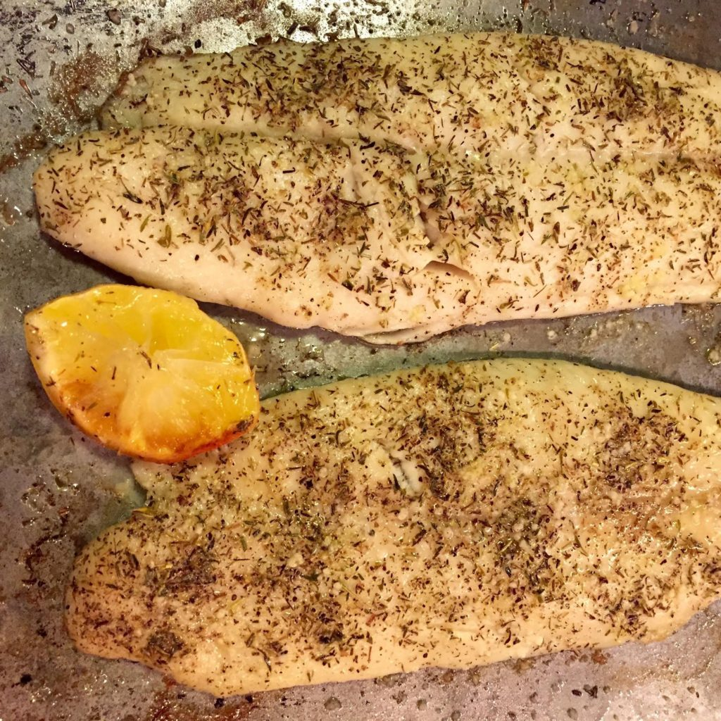 Gustus Vitae Taste of Provence Roasted Fillet of Sole, finished on a baking pan.