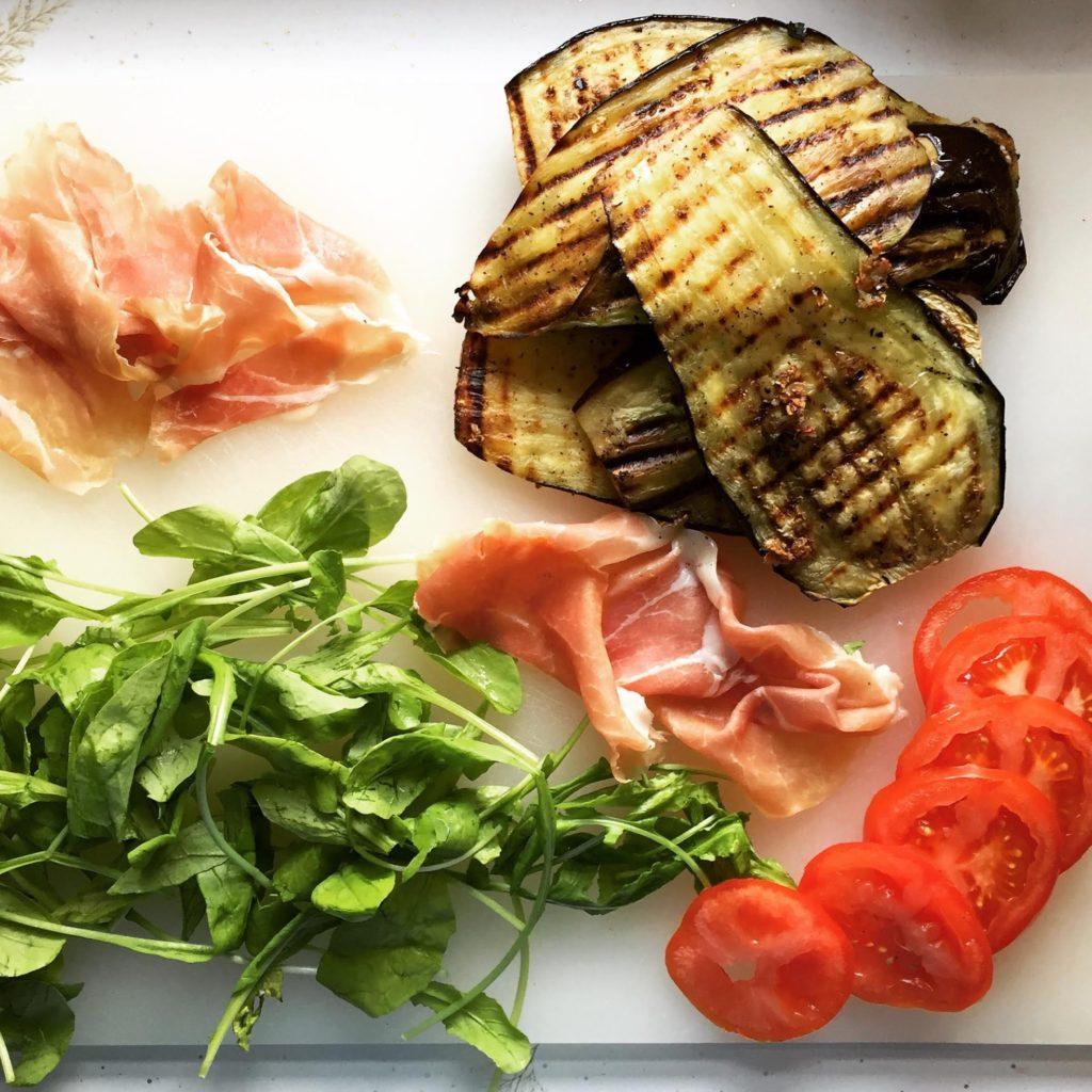 Grilled Eggplant, Prosciutto, Tomato & Arugula Sandwiches ingredients.