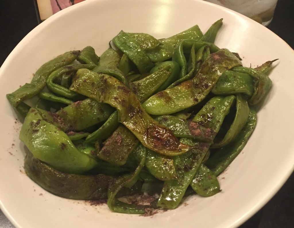Sabatino Tartufi Truffle Zested Flatbeans - finished beans in a Simon Pearce bowl.