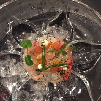 Nolita's fish course - lobster sashimi, elderflower, samphire.