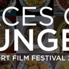 Faces of Hunger logo with food background