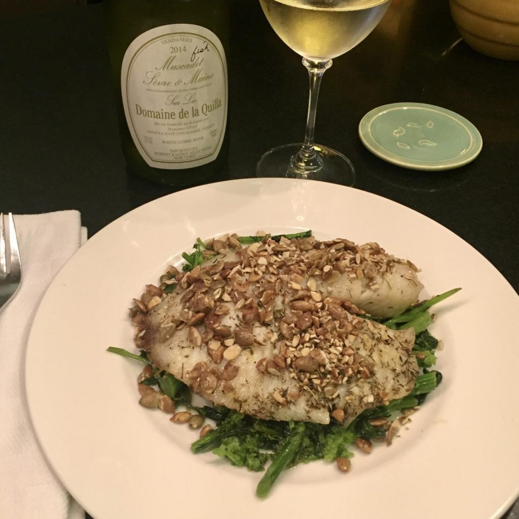 Oven roasted tilapia topped with chopped Maple Sugar & Sea Salt Superseedz on a bed of sauteed broccoli rabe.