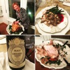 Thanksgiving in Tuscany_Bianca's Post of the carving, the plate, the 2077 Amarone, the turkey.