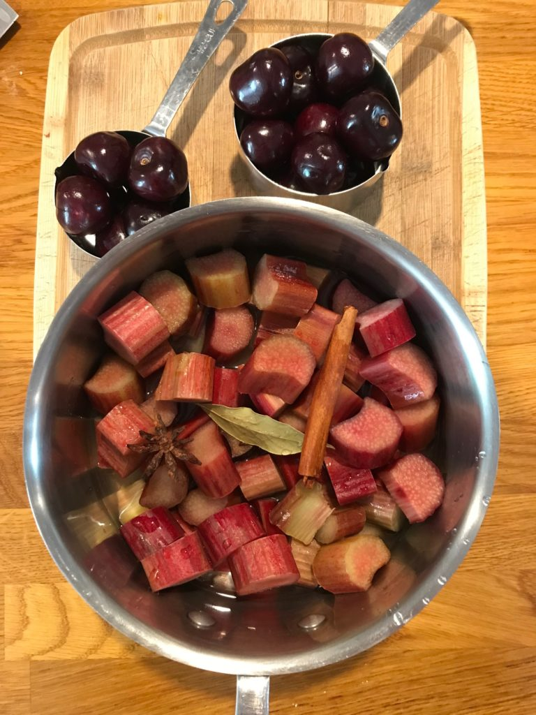 Rhubarb Sauce with Bing Cherries Ingredients.