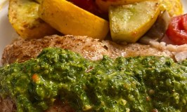 Green sauce on grilled Grouper.