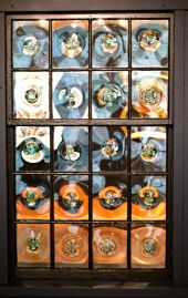 Handblown bull's eye window panes