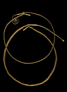 Gold torcs, from 1200 BCE, in National Museum