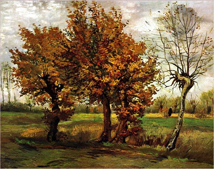 נוף סתווי עם ארבעה עצים, ואן גוך