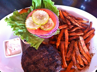 Hamburger at Godfather's Burger Lounge in Belmont